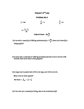 Newton's Second Law Problems Sets