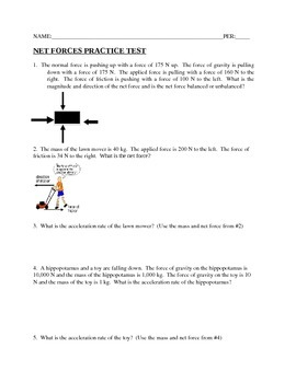 Net Forces Practice Test with Answer Key