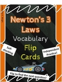 Newtons Three Laws of Motion Flip Card Vocabulary Review
