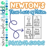 Newton's Three Laws of Motion Foldable
