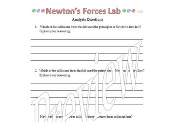 Newton's Three Laws of Motion Lab-Middle School. NGSS* Aligned