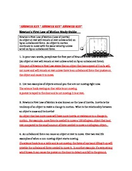 Newton's Three Laws of Motion Study Guide (Bundled)