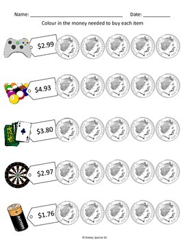 Next AUSTRALIAN Dollar and Dollar Over Colour-in Worksheets