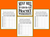 Next Dollar Bill $5 $10 or $20 Practice Worksheets