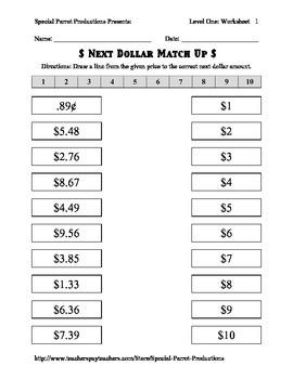 next dollar dollar up match up worksheets up to 20. Black Bedroom Furniture Sets. Home Design Ideas