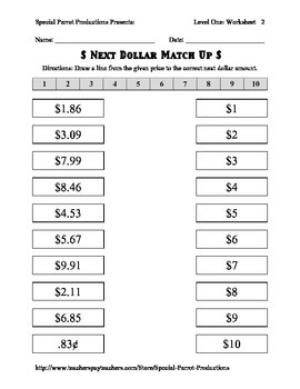 Next Dollar (Dollar Up) Match Up - Worksheets up to 20 Dollars