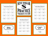 Next Dollar (Dollar Up) Practice Worksheets (Prices up to 100 Dollars)