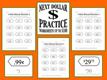 Next Dollar (Dollar Up) Practice Worksheets (Prices up to