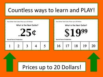 Next Dollar (Dollar Up) Task Cards (Prices up to 20 Dollars)