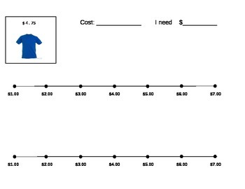 Next Dollar (Dollar Up) Worksheet and Numberline