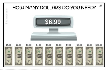 Next Dollar Up - How Many Dollars Do You Need? Large Task Cards