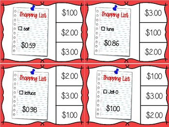 Next Dollar Up - Grocery and Shopping Words Task Cards