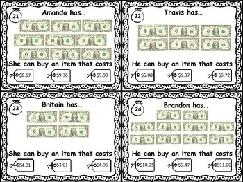 Next Dollar Up Task Cards Set 1- Money Resources