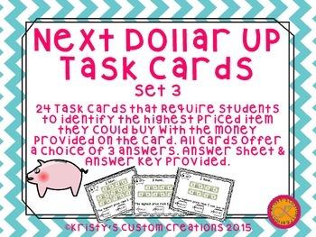 Next Dollar Up Task Cards Set 3- Money Resources