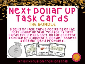 Next Dollar Up Task Cards Bundle- Sets 1-3- Money Resources