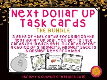 Next Dollar Up Task Cards Bundle- Sets 1-3- Money Resources