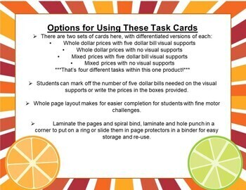 Next Dollar Up Task Cards in $5 Increments- Special Education Money Practice