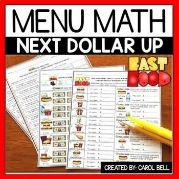 Next Dollar Up Worksheets and Word Problems Menu Math