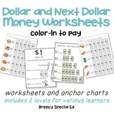 Special Education Next Dollar Up and Dollar Color-In Money Worksheets