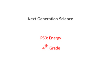 Next Generation Science 4-PS3: Energy