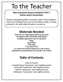 Next Generation Science: 5-PS1-2 Matter and Its Interactions - Measure and Graph