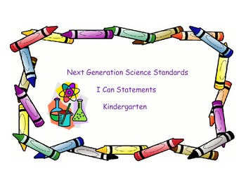 Next Generation Science I Can Statements for Kindergarten