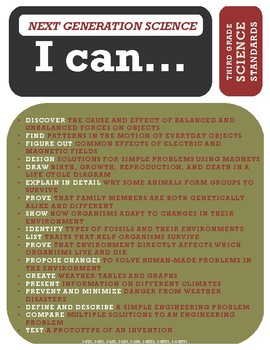 """NGSS """"All-in-One"""" Poster - 3rd Grade - Next Generation Science - """"I can..."""""""