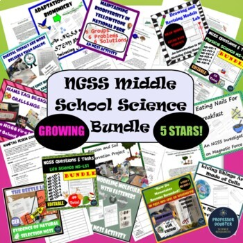NGSS Middle School Science Growing MEGA Bundle Activities, Labs and Assessments