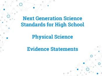 Next Generation Science Standards Evidence Statement Poste