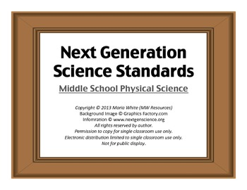 Next Generation Science Standards For Middle School Physical Science 2
