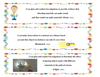 Next Generation Science Standards I Can Statements - 1st Grade