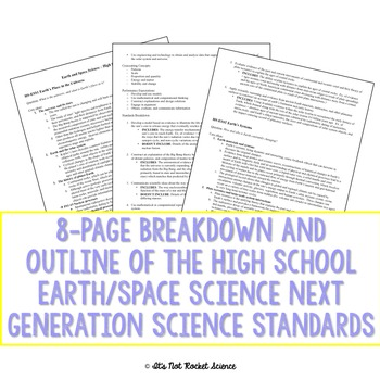 Next Generation Science Standards (NGSS) Breakdown-MS and HS Earth/Space Science