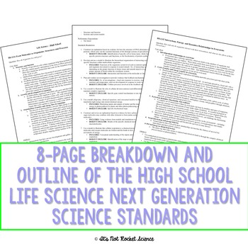 Next Generation Science Standards (NGSS) Breakdown - MS and HS Life Science