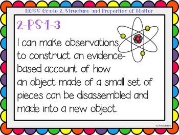 """Next Generation Science Standards (NGSS) """"I Can"""" posters for Grade 2"""
