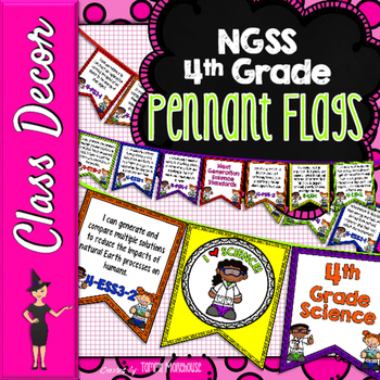 Next Generation Science Standards Pennant Banners 4th Grade - Bright Solids