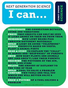 """NGSS """"All-in-One"""" Poster - 1st Grade - Next Generation Science - """"I Can..."""""""