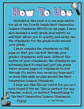 Next Generation Science Standards for Fourth Grade