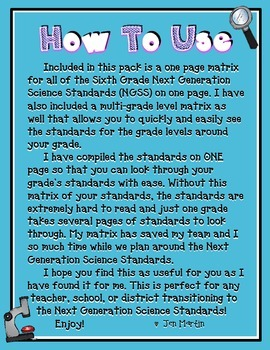 Next Generation Science Standards for Sixth Grade