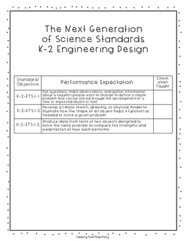 Next Generation of Science Standards Checklist Grade 2