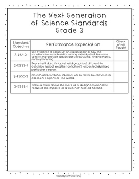 Next Generation of Science Standards Checklist Grade 3