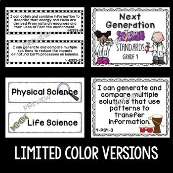 Next Generation Science Standards Posters for 4th Grade - LIME (NGSS)