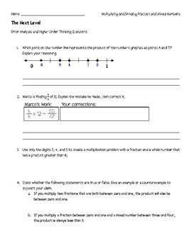 Next Level: Multiply & Divide Fractions: Error Analysis & Higher Order Thinking