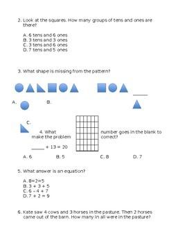 Next Step Math Placement Test - Level C - 1st Grade