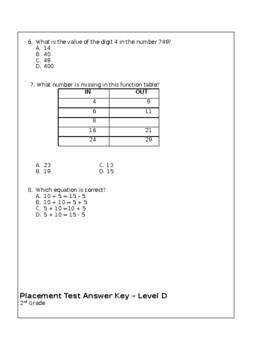 Next Step Math Placement Test - Level D- 2nd Grade