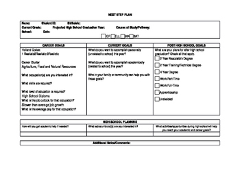 Next Step Plan Fillable Template for High School, College, and Career Planning