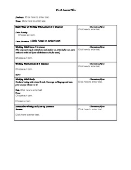 Next Step to Guided Reading - Pre-A lesson planner
