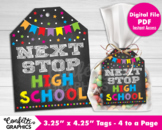 Next Stop High School Card Gift Tags, Last Day of 7th 8th 9th Grade Graduation