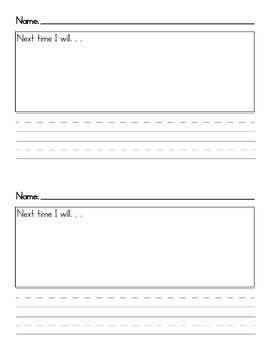 Next Time I Will Behavior Management Writing Form