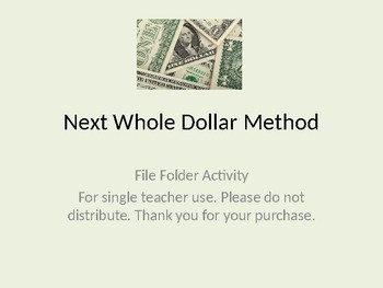 Next Whole Dollar File Folder Activity