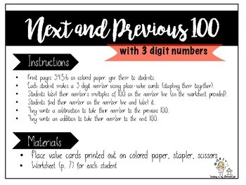Next and Previous 100. Adding to the next 100, subtracting to the previous 100.